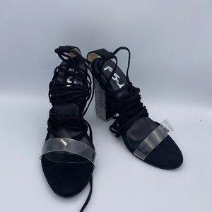 FSJ Transparent Lace Up Open Toe Pump Heels Sandal
